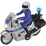 Unbekannt Polizei Motorrad mit Licht und Sound, Friktionsmotor, 15 cm inkl. Figur: Spielzeug Police Bike Polizeiauto Sirene Blaulicht