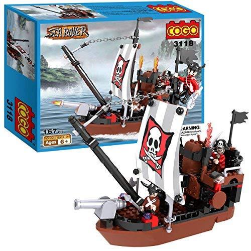 Unbekannt Cogo Piratenschiff. Jungen-Spielzeug zum Selber Bauen., Sea Rover The Avengers, Seeräuber-Bausteine, Spielzeuggeschenk für Kinder, Set ist kompatibel mit Lego Playmobil, 167Teile, 3118