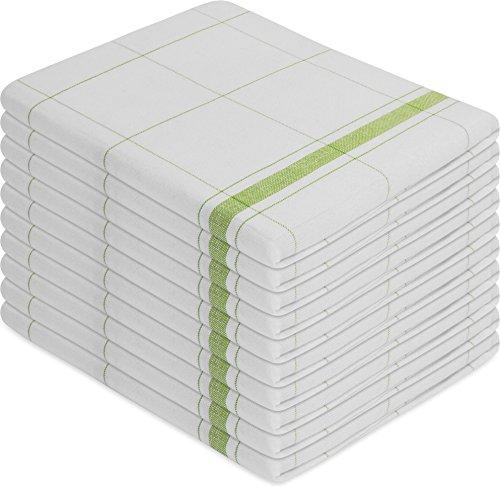 normani 10 x Halbleinen Geschirrtücher, Geschirrtuch, Küchentuch, Abtrocktuch Waschbar bis 60° C Farbe Profi Wipe/Grün