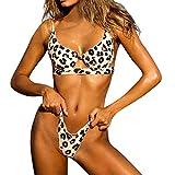 Yvelands Damen Bikini Set Bademode Beachwear Patchwork 2 Stück gedruckt Bikini Badeanzug (CN-XL,Braun)