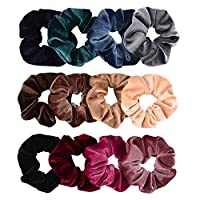 Whaline Premium Hair Scrunchies Velvet Elastics Scrunchy Bobbles Soft Hair Bands Hair Ties (12 Colors)