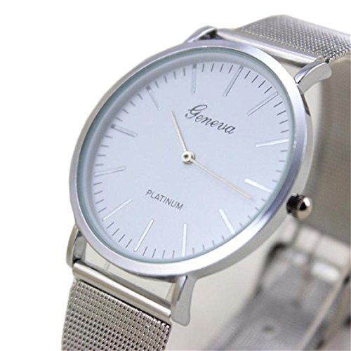 Vovotrade HOT Damenmode Uhr Edelstahl Band analoge Quarz Armbanduhr(Silber)