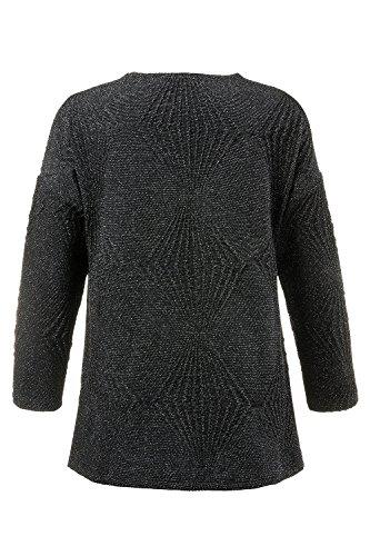 Ulla Popken Damen große Größen Jacke | Oversize| Jacquard-Sweat | Offene Form | überschnittene Schultern | lange Ärmel | bis Größe 62+ 707445 Schwarz