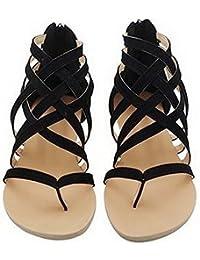 Meedot Sommer Damen Schuhe Zehentrenner Sandalen Sommer Schuhe Flach Outdoorschuhe Freizeitschuhe Sommerschuhe Grau 38 tyzocm