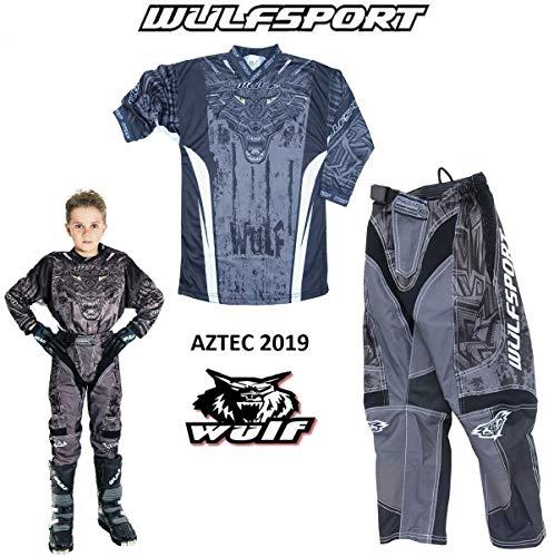 WULFSPORT AZTEC MX Bambini Tuta Moto Pantaloni e Maglia Bambini Moto Scooter ATV Quad Motocross vestito de capretti (8-10 anni, Nero)