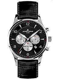 Jacques Lemans Herren-Armbanduhr XL London Chronograph Quarz Leder 1-1654A