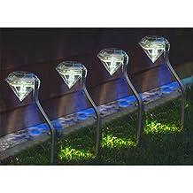 4 x vanz shop reloj Solar de acero inoxidable jardín de diamante de luz - LED de color blanco