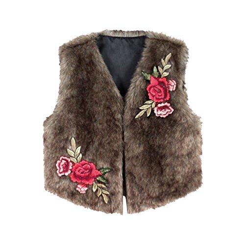 Yuandian donna autunno inverno casual corte gilet pelliccia finta ricamo fiore caldo senza maniche pellicce ecologiche sintetiche corto smanicate marrone 2xl