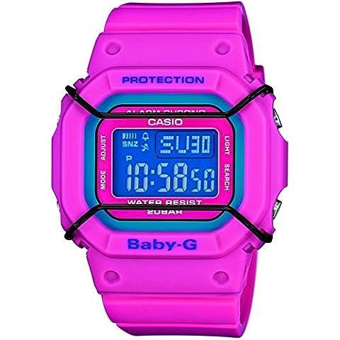 Baby-G Esfera Azul Reloj de cuarzo para mujer con correa de resina, color fucsia y pantalla digital BGD-501–4er