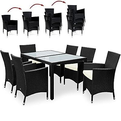 Deuba PolyRattan Sitzgruppe Gartenmöbel Lounge Sitzgarnitur Essgruppe Aluminium Gestell