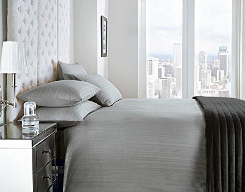 Satin Streifen silber grau Super King, 200TC 100% Baumwolle Bettwäsche Tröster Bezug