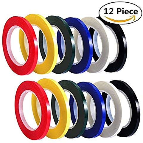 12 Piece Colorful Whiteboard Gridding Tape, HULISEN Grid Marking Tapes Self Adhesive Chart Tapes Artist Tape, 150 Feet Long (5mm