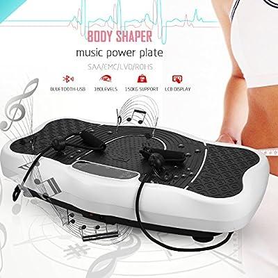 Profi Vibrationsplatte Ganzkörper Trainingsgerät Fitness Vibration Plate rutschfest große Fläche mit USB Lautsprecher/LCD Display & Fernbedienung/Trainingsbändern | Fitnessgerät für Fettabbau von Laiozyen