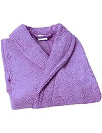 Home Basic - Albornoz con cuello tipo smoking, talla M, color lavanda