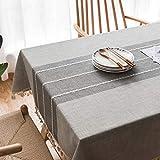 Topmail Mantel de Mesa para Comedor Mantel Rectángulo Poliéster Mantel Rectangular Impermeable Resistente al Aceite con Patrones de Rama con borlas 140x180cm Gris Claro
