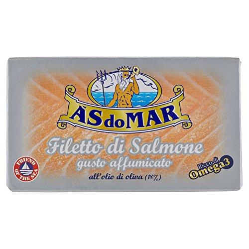 Asdomar - filetto di salmone all'olio di oliva, gusto affumicato - 5 pezzi da 115 g [575 g]