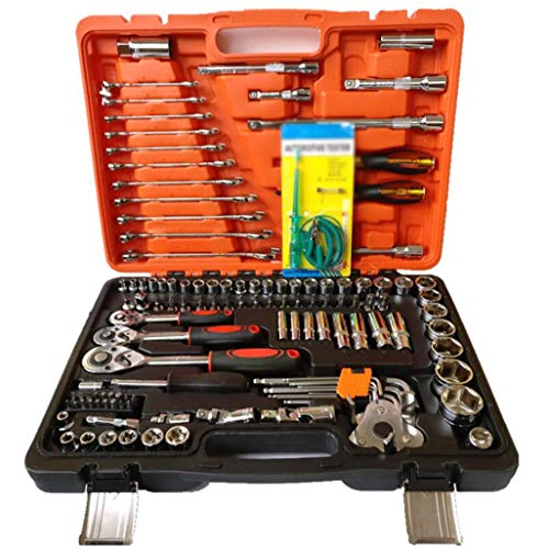 RDMSLKQ Einfaßungsschlüsselset 121 Stücke Auto-Reparatur-Set mit Batch-Kopf-Set, Schnellspanner Ratschenschlüssel CR-V Mechaniker Werkzeug Aufbewahrungsbox for DIY, Autoreparatur