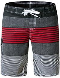 Short de Bain Homme Maillot de Bain Natation Surf Rayé Boardshort Short de  Plage Homme Caleçon 23d23b9eafe