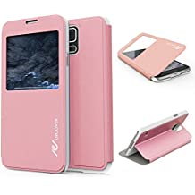 Urcover® Samsung Galaxy S5   View Case Funda Protectora   Cross Pattern en Rosa   Carcasa Protección Completa Case Cover Smartphone Móvil Accesorio + PELÍCULA PROTECTORA