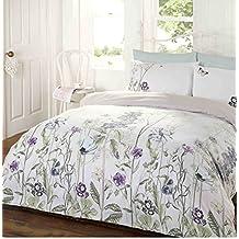 Edredón de Color blanco y único de flores, funda de edredón y 1funda de almohada ropa de cama juego de cama