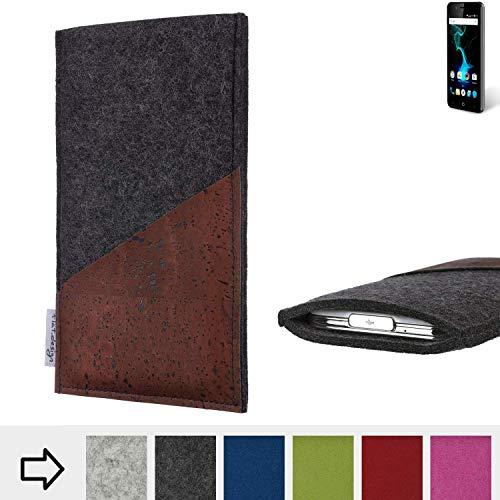 flat.design Handy Hülle Evora für Allview P6 Pro handgefertigte Handytasche Kork Filz Tasche Case fair dunkelgrau
