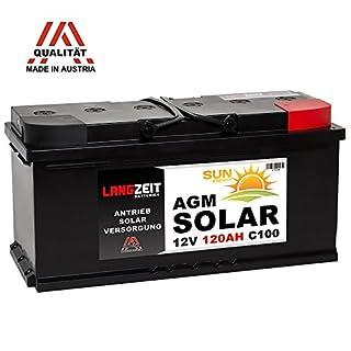 LANGZEIT 12V 120AH AGM Batterie Solarbatterie Wohnmobil Boot Solar Versorgungsbatterie 100Ah