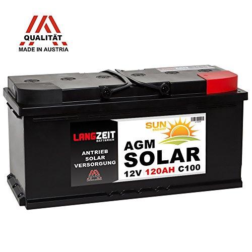 Solarbatterie 12V 120AH AGM Gel Batterie Wohnmobil Versorgungsbatterie Boot Solar Akku 100Ah 120Ah (120AH) Gel Marine Batterie