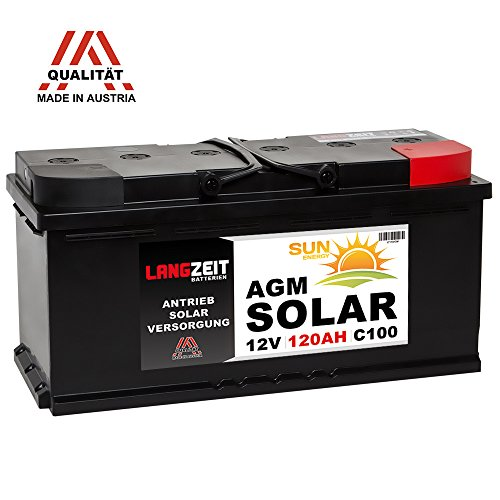 LANGZEIT 12V 120AH AGM Batterie Solarbatterie Wohnmobil Boot Solar Versorgungsbatterie 100Ah (Deep Batterien Agm Cycle)
