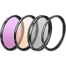Neewer 4 Piezas de 77MM Profesional Kit de Filtros de Lentes de Fotografía para Cámara DSLR Canon, Incluye: Filtro UV, CPL, FLD, Filtro de calentamiento, Hecho de Cristal Óptico HD y Aleación de Aluminio