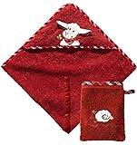 Morgenstern Set Kapuzentuch 100 x 100 cm und Waschhandschuh Rot Frottee Schaf