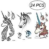 STOBOK STOBOK Einhorn Wasserdichte Tattoo Aufkleber (gemischt) 24pcs / Bag