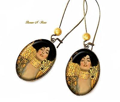 Boucles d'oreilles °° Judith °° Gustav Klimt cabochon bronze marron jaune verre