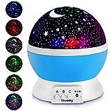 Moredig ZJB00186-XKD-Gm Night Lighting Lamp 3 Model Light 6.56 FT (2M) USB Cord Romantic Rotating Cosmos Star Sky Moon Projector Rotation Night Projection for Children Kids Bedroom (Blue)