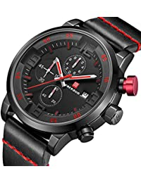 FAERDUO Relojes para hombres, relojes de cuarzo, marcación múltiple, visualización de la fecha,…