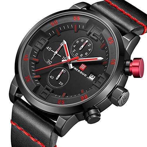 FAERDUO Relojes para hombres, relojes de cuarzo, marcación múltiple, visualización de la fecha, moda, negocios, relojes de lujo, estilo minimalista, ropa deportiva, relojes de regalo,barato