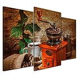Wandbild Kaffeemühle - 100x60 cm Leinwandbilder Bilder als Leinwanddruck Fotoleinwand Essen & Trinken - Genuss - Auszeit - Bohne - Geschmack