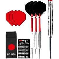 Red Dragon Hell Fire Ringed Tungsten Steel Darts Set (Steel Dartpfeile) mit Flights, Schäfte, Brieftasche Checkout Card