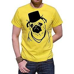 Camiseta para hombre amarillo con imagen carlino