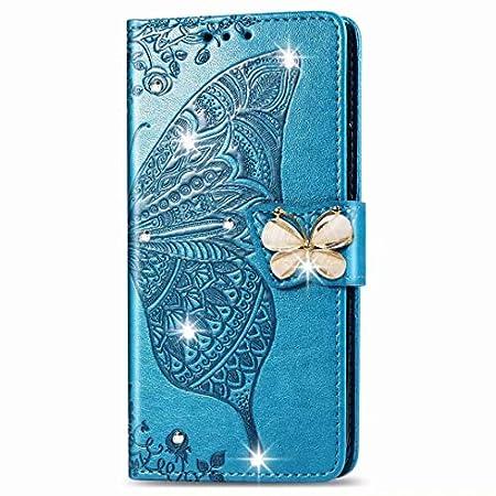 Karomenic PU Leder Hülle kompatibel mit Samsung Galaxy A10 Schmetterling Glänzend Glitzer Diamant Handyhülle Brieftasche…