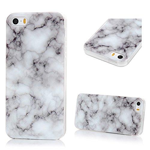 Lanveni Custodia Cover Morbido TPU Silicone Ultra Sottile per iPhone 5/5S/SE Paraurti Protective Case Caso - Disegno Marmo, Grigio Bianco Grigio Bianco