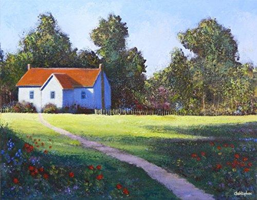 Cottage da boschi - 45cmx35cm, cottage pittura, fiori, alberi,
