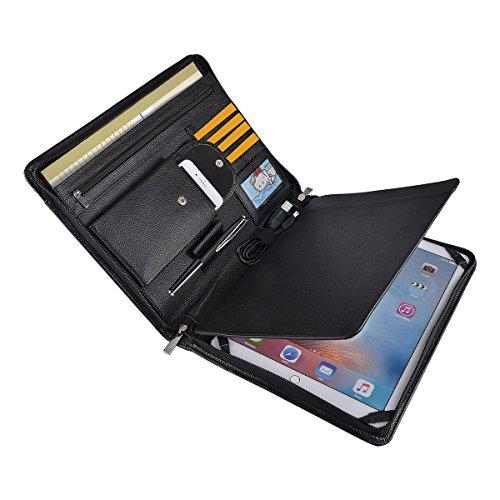 Professionelle Business Leder Organizer Portfolio Fall mit Reißverschluss für iPad Pro 32,8cm (A4) Papier Pocket iPad Pro 12.9 inch schwarz (Trennwände Für 3-ring Binder)