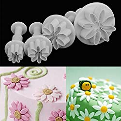 Rosepoem 3 unids Fondant Sugar craft Cake Mould Molde Para Hornear Set Home Cake Jelly Chocolate Caramelo Icing Plunger Cutters Mould (flor de la margarita)