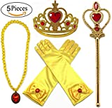 Alead Princess Dress Up Belle Jaune 4 Pièces Diadème,Baguette Magique,Gants,Baguette,Collier (Rouge / Gold)