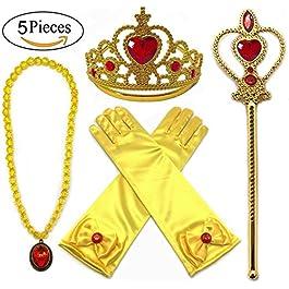 Alead Principessa Belle Accessori Abito Giallo per Le Ragazze 4 Pezzi Tiara, Bacchetta, Guanti e Collana