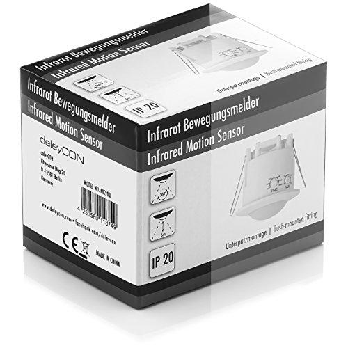 deleyCON Infrarot Decken-Bewegungsmelder – für Innenbereich – 360° Arbeitsfeld – Reichweite bis 6m – einstellbare Umgebungshelligkeit – IP20 Schutzklasse – optimal für Unterputz Deckenmontage – Weiß - 6