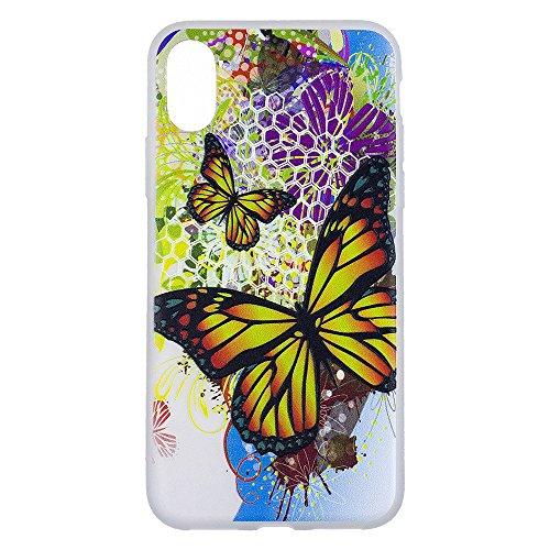 "MOONCASE iPhone X/iPhone 10 Coque, [3D Relief Style] Étui Housse Slim Fit Résilient TPU Anti-rayures Anti-choc Protection Case pour iPhone X 5.8"" Marble Butterfly"