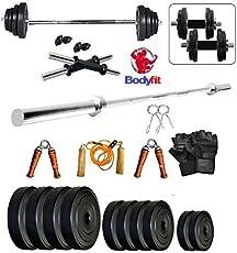 Bodyfit 30Kg Combo 3Ft Plain Rod Home Gym Fitness Kit.