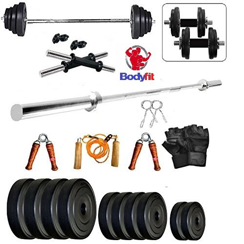 Bodyfit 30Kg Combo 3Ft Plain Rod Home Gym Fitness Kit.