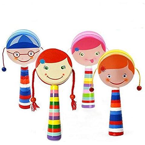 Meijunter Hand Painting Baby Shaped Shaking Rattle Hand Bell Drum Music Toys Sonajero Tambor Campana Mano Juguetes for Children Color Yellow